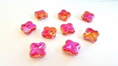 Gorgeous Iridescent Pinkish Red Ceramic Beads.  Short Cross Beads.  Really Pretty and Unique!!   25mm.  9 Beads. Really Lovely Item!! by FunkyCreativeJuices on Etsy