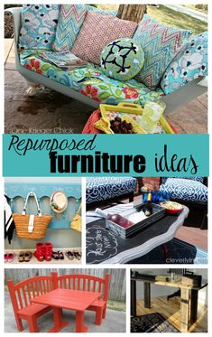 Today I'm sharing ten repurposed furniture ideas! I hope you're inspired to go through your furniture and create a new piece. From doors, to headboards and even a tub!