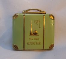 1939 New York Worlds Fair green enamel suit case compact
