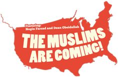 """The logo for the documentary I'm co-directing and co-producing """"The Muslims Are Coming!"""" which follows a tour of Muslim-American comedians in Deep South and West. Plus some great peeps in it like Daily Show's Jon Stewart and Aasif Mandvi, Rachel Maddow, David Cross, Russell Simmons, Congressman Keith Ellison, CNN's Soledad O'Brien, Lewis Black and more! www.themuslimsarecoming.com"""