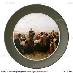 """Thanksgiving Fine Art Gift Decorative Porcelain Plates. """"The First Thanksgiving in Plymouth"""", Oil Painting, circa 1914. Artist Jennie A. Brownscombe. From the Library of Congress Collection. Matching Cards, Postage Stamps and other products available in the Holidays / Thanksgiving Category of the oldandclassic store at zazzle.com"""