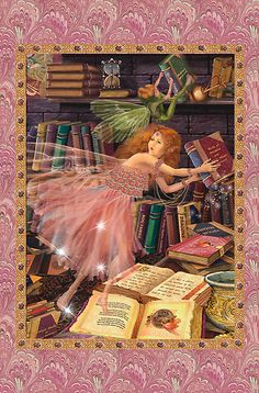 Fairies in the library greeting card by Carol McLean-Carr