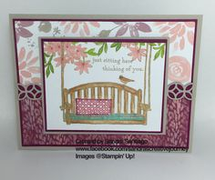 Thinking of You Stampin' Up! Sitting Here stamp set, Awesomely Artistic stamp set, Blooms and Bliss DSP and Flourishing Phrases Thinlits
