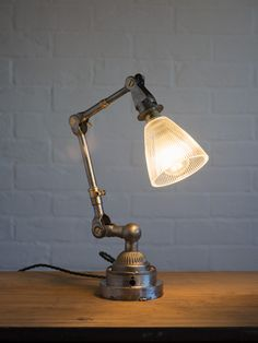 Vintage Industrial Dugdill Lamp with Prismatic Glass Shade | Artifact Interiors | Artifact Lighting