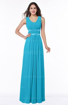Turquoise Glamorous A-line Zip up Chiffon Sash Plus Size Bridesmaid Dresses