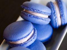 Vanilla macaron filled with blueberry swiss meringue buttercream