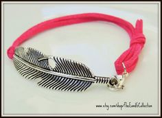 Feather bracelet, Silver jewelry, Gift for her, Womens womans, Cowgirl Rodeo, mother daughter,Infant loss, Metal curved link faux pink suede by TheEandGCollection on Etsy
