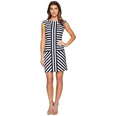 Christin Michaels Ember Mock Neck Striped Dress (Navy/Cream) Women's... ($139) ❤ liked on Polyvore featuring dresses, mock neck dress, navy blue striped dress, white day dress, navy stripe dress and white mock neck dress