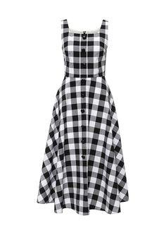 Платье от LAMANIA приталенного кроя. Модель выполнена из плотного текстиля в клетку. Детали: застежка на молнию на спинке, без подкладки,  спереди декоративные пуговицы.