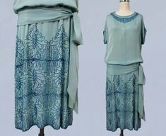 Beaded blue-green crepe dress | 1920s | sold by GuermantesVintage