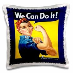 3dRose Vintage WW II Rosie Poster, Pillow Case, 16 by 16-inch
