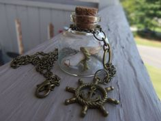 Message in a Bottle Necklace with Anchor/Helm by WhimsyByKrista, $25.00