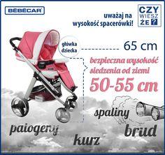 Niezmiernie jest ważna odległość od ziemi wpiętej w podwozie wózka gondoli, spacerówki, czy fotelika. Pamiętajcie im dalej od ziemi tym lepiej. Niskie spacerówki to koszmar dla zdrowia dziecka (spaliny, rury wydechowe, zanieczyszczenia i zarazki), a wielki komfort dla obsługującego wózek.