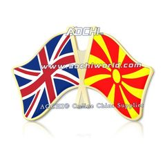Mix высокое Качество и Матч Великобритания и Македония Скрещенные Штыри Отворотом Флагов
