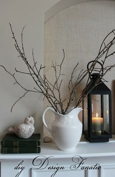 diy Design Fanatic: Winter Mantel Pitcher with sticks and lantern Winter Home Decor, Winter House, Diy Home Decor, Winter Decorations, My Living Room, Living Room Decor, Cozy Living, Do It Yourself Decorating, Decorating Ideas