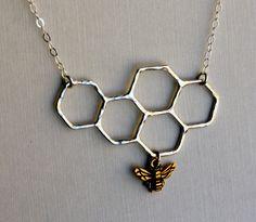 Sterling Silver Honeycomb Necklace by RachelPfefferDesigns
