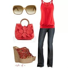 Different color top. Minus the bag and shoes