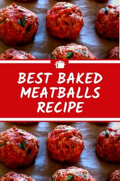 Best Baked Meatballs Recipe More from my siteSweet and Sour Meatballs {Baked} Best Baked Meatball Recipe, Meatball Bake, Meatball Recipes, Meat Recipes, Cooking Recipes, Snack Recipes, Beef Dishes, Pasta Dishes, Hamburger Dishes