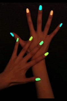 Glow in the dark nail polish! Break open a glow stick & add liquid to a bottle of clear nail polish! Ahh <3