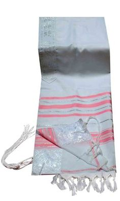 Acrylic Tallit imitation Wool Prayer Shawl in Soft Pink and Silver Size 24 L X 72 W >>> You can get additional details at the image link.
