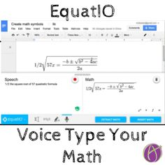EquatIO voice type your math Math Sites, Math Resources, Voice Type, The Voice, Math Teacher, Teaching Math, Google Voice, Google Classroom, Classroom Ideas