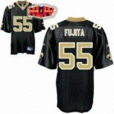 Saints #55 Scott Fujita Black With Super Bowl Patch Stitched NFL Jersey