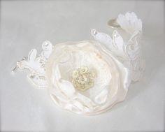 Lace Cuff Bracelet Bridal Cuff Wedding Corsage choice of color flower Swarovski crystals, handmade flower, vintage lace bracelet by GracefullyGirly, $58.00