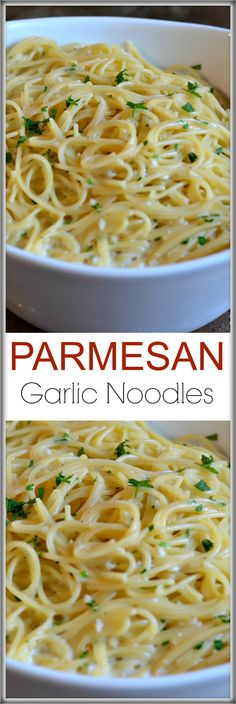Garlic Noodles These Parmesan Garlic Noodles recipe is ready in 15 minutes and has loads of fresh garlic, butter, parsley and cheese!These Parmesan Garlic Noodles recipe is ready in 15 minutes and has loads of fresh garlic, butter, parsley and cheese! Italian Recipes, New Recipes, Cooking Recipes, Favorite Recipes, Healthy Recipes, Jello Recipes, Whole30 Recipes, Vegetarian Recipes, Recipies