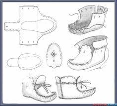 Beaded Moccasins, Baby Moccasins, Leather Moccasins, How To Make Moccasins, How To Make Shoes, Diy Leather Projects, Leather Craft, Doll Shoe Patterns, Sewing Patterns