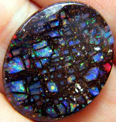 """YOWAH OPAL stone - """"Canterbury Windows"""" 12.95 cts [This is the blue side of the stone.]"""