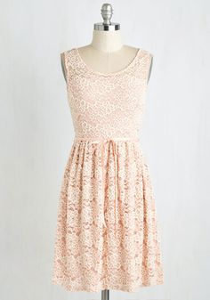 Girly in the Evening Dress - Mid-length, Knit, Lace, Blush, Solid, Lace, Belted, Wedding, Daytime Party, Graduation, Bridesmaid, Valentine's, Fairytale, Pastel, A-line, Sleeveless, Spring, Scoop, Special Occasion, Top Rated