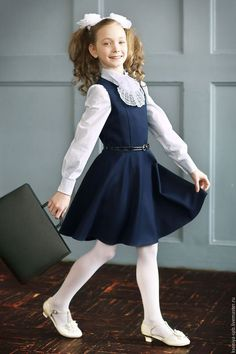 Купить Школьный сарафан для девочки синий/черный (Арт. 96) - черный, сарафан школьный, школьная форма
