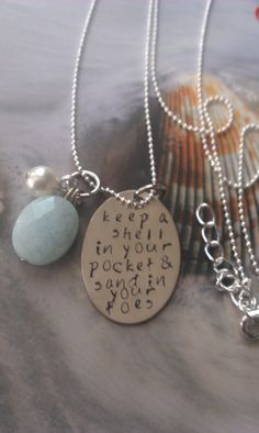 Keep a Shell in Your Pocket, Ocean sayings, Necklace. $22.00, via Etsy.