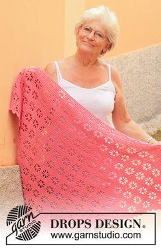Marions' Garden - free crochet shawl pattern with chart by DROPS design One Skein Crochet, Crochet Shawl Free, Crochet Scarves, Crochet Clothes, Hand Crochet, Shawl Patterns, Knitting Patterns Free, Free Knitting, Crochet Patterns