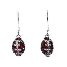Crimson and White Crystal Football Earrings $86.95 #bama #crimson_tide #roll_tide #university_of_alabama #hudson_poole_jewelers