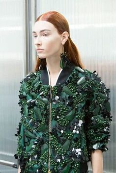 Marni, different textures and shades of green on a bomber jacket, love it!