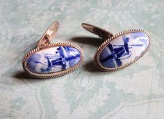 Vintage Dutch Delft Blue Cufflinks with Windmill by MiladyLinden