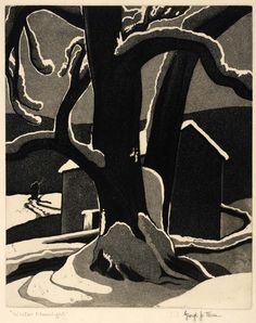 Winter Moonlight  ca. 1935-1940 George Jo Mess (American 1898-1962) aquatint on paper plate, Smithsonian
