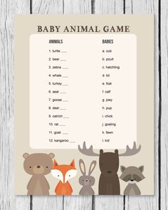 woodland themed baby animal game for a baby shower