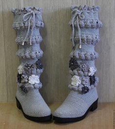 Купить Вязанные сапожки для улицы - серый, любой цвет, любой размер, легкие, натуральный