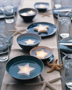 Ocean table setting. I love anything to do with the ocean and I would use this for a summer party with friends or family. I think it would cost less the 30 to create.