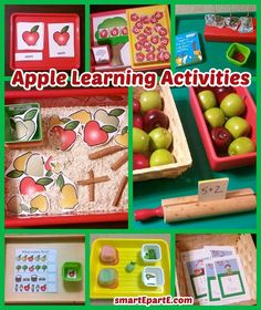 Here we highlight favorite math, fine motor, and word and letter apple learning activities that we did in apple tot school and apple preschool! Preschool Curriculum, Preschool Themes, Preschool Apples, Homeschooling, Apple Activities, Learning Activities, Activities For Kids, Fruit Crafts, Transitional Kindergarten