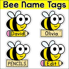 Editable Name Tags & Labels - Bee Theme Classroom Decor Classroom Labels, Classroom Jobs, Classroom Projects, Preschool Classroom, Classroom Decor, Kindergarten, Classroom Management, Student Name Tags, Bee Theme