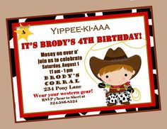 Cowboy Birthday Party Invitation Printable  by ThatPartyChick, $15.00