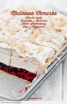 short pastry with raspberry jelly, vanilla cream cheese and almond meringue Sweet Recipes, Cake Recipes, Dessert Recipes, Short Pastry, Polish Recipes, Pavlova, Cookie Desserts, Christmas Desserts, Delicious Desserts