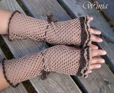 Crochet fingerless gloves, cotton beige fingerless gloves, summer gloves, mittens, woodland knit, boho gloves, arm warmers, knitted gloves