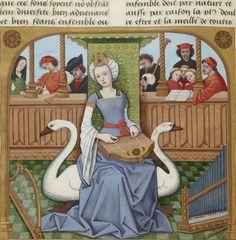 Bibliothèque nationale de France, Français 143, detail of f. 65v (Allegory of Music). Évrard de Conty, Échecs amoureux. France (Cognac), c. 1496-1498. Artist: Robinet Testard.