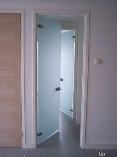bathroom double glass door Sandblasted Glass Doors with Locking Handle