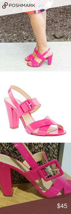FINAL@ JCREW HOT PINK SYDNEY HEELS!!! Hot pink jcrew SYDNEY heels. Size 9.5 very good condition! 4 inch heels. Normal wear and tear and scuffs. J. Crew Shoes