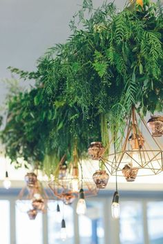 Hanging foliage and geometric lighting wedding decor / http://www.deerpearlflowers.com/modern-himmeli-geometric-wedding-details/3/